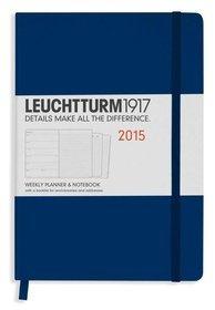 Kalendarz 2015. Leuchtturm1917. Kalendarz książkowy tygodniowy z notatnikiem A5. Weekly Planner  Notebook - morski
