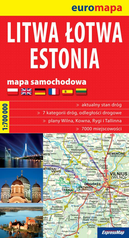 Litwa, Łotwa, Estonia 1:700 000 papierowa mapa samochodowa