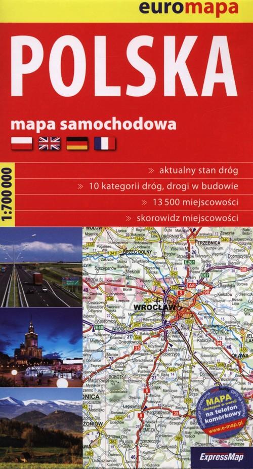 Polska 1:700 000 mapa samochodowa