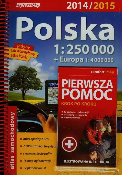 Polska atlas samochodowy 1:250 000 + pierwsza pomoc krok po kroku ilustrowana instrukcja