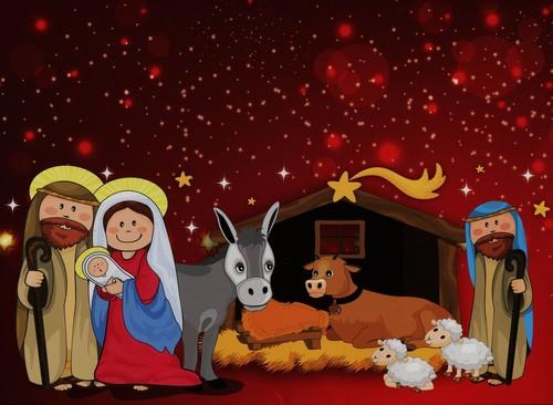 Szopka bożonarodzeniowa z naklejkami